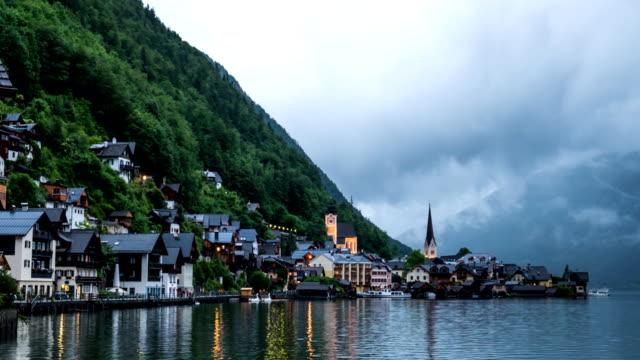 Hallstatt mountain village landscape famous view video