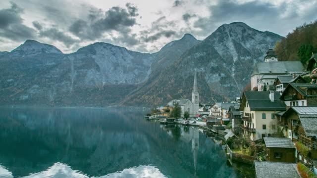 Hallstatt mountain village landscape video