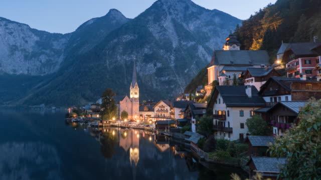 Hallstatt Village Cityscape lake in Austria video