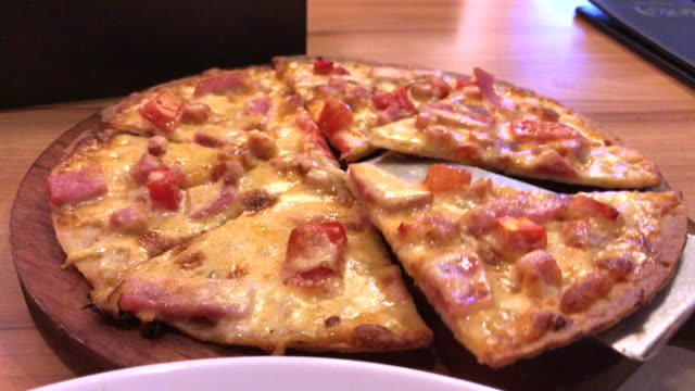 Ham And Bacon With Extra Cheese Pizza Bangkok Thialand Stock