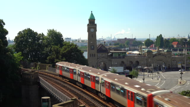 hamburg clock tower with subway - subway video stock e b–roll