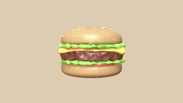 vídeos de stock e filmes b-roll de hamburger abstract motion 3d rendering cartoon style fast food concept - meat texture