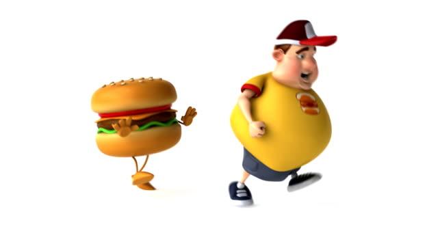 vídeos de stock, filmes e b-roll de hambúrguer depois de gordura para crianças - boné