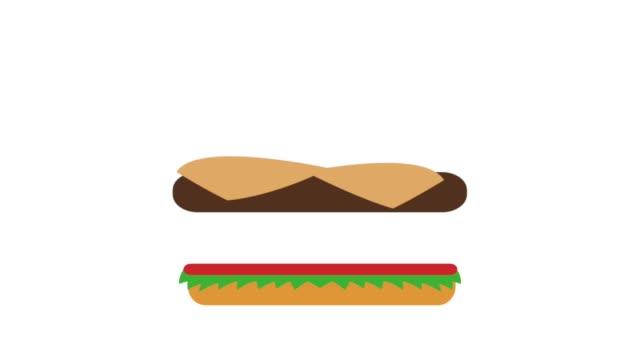 Animación de topview HD de comida rápida de hamburguesa - vídeo