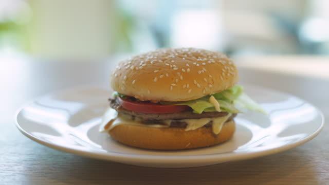 Hamburger On White Plate Sliding Shot