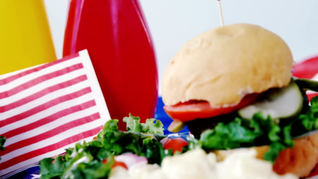 Hamburger with 4th july theme video