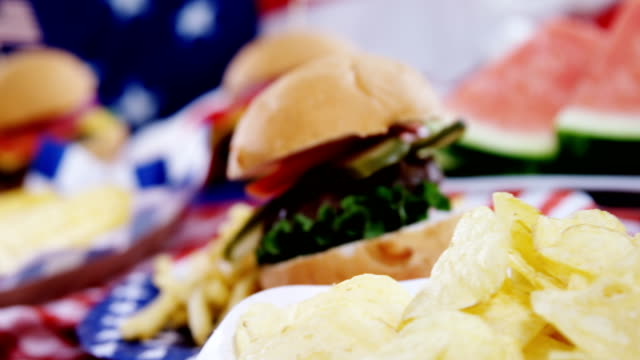 Hamburgers, french fries and potato chips with 4th julty theme video