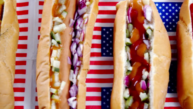 Hamburgers served on American flag video