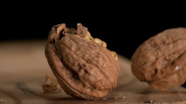 Hammer breaking Walnut, juglans regia, Slow Motion