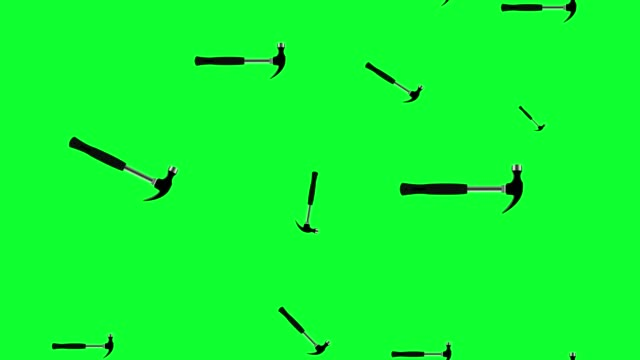 hammer tools group animation on green screen chroma key , graphic elements, seamless loop video