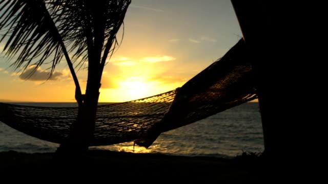 hängematte und palmen ein sonnenuntergang zeitlupe. luxus-ferien entspannung lebensstil. hängematte schwingen im wind zwischen zwei palmen. hinterhof am meer immobilien. maui - sun chair stock-videos und b-roll-filmmaterial