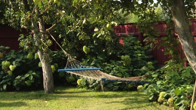 hammock net between two apples. hammock between the trees.  blue hammock suspended between two trees under the shadow. - amaca video stock e b–roll