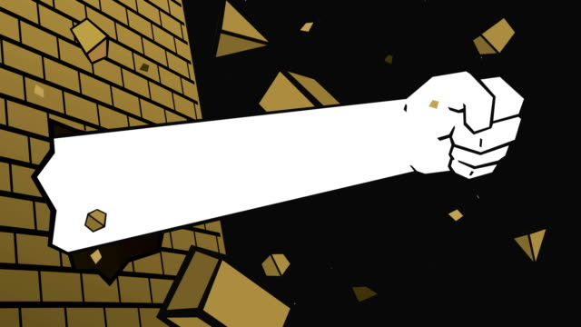 Hand Breaking Brick Wall Animation video