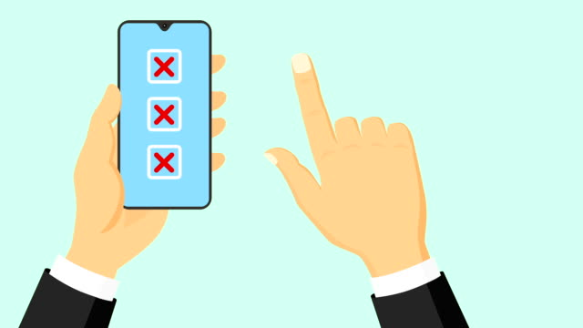 Hand clicking red X cross in a square checkbox Hand clicking red X cross in a square checkbox on flat smartphone screen. ymbolizing wrong. Business concepts animation. survey icon stock videos & royalty-free footage