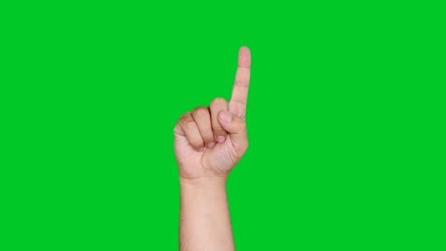 stockvideo's en b-roll-footage met 4k hand tellen op groen scherm - hand pointing