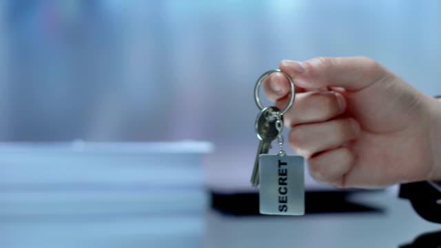 Hand demonstrating keychain, conspiracy, providing data protection, secret