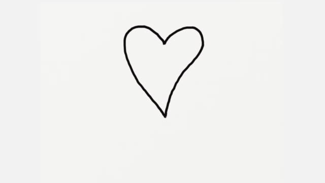 Video Hand draw a digital painting of heart on white background. Doodle cartoon explosion. Time lapse loop movie