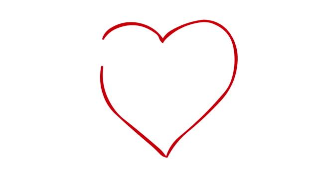 vídeos y material grabado en eventos de stock de dibuje a mano una pintura digital de corazones sobre fondo blanco. imágenes de dibujos animados doodle. el metraje incluía pantalla verde y mate de luma. - heart