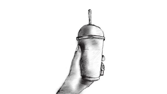 hand teckning, animation tecknad skiss, människans hand håller ta bort is kaffekopp - iskaffe bildbanksvideor och videomaterial från bakom kulisserna
