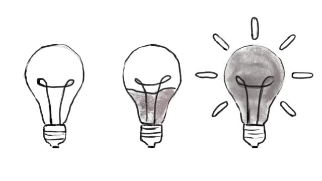 Hand drawing , Animation cartoon sketch, Light Bulb , Idea and inspiration concept