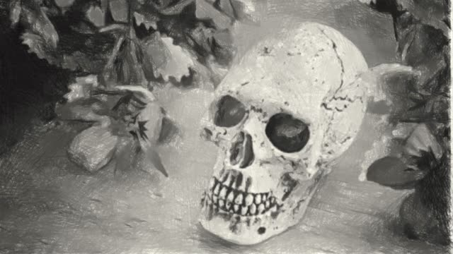 Hand drawing , charcoal style, human skull in Halloween concept