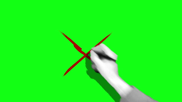 Hand drawing cross mark green screen