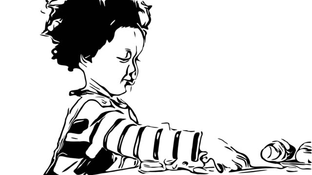 Hand drawing , doodle cartoon style , African-American Ethnicity little boy playing toy - vídeo