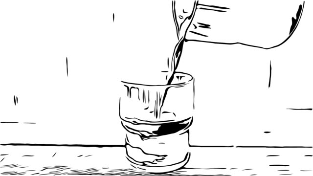 hand drawing , doodle cartoon style, pouring  milk froth into cup of coffee and ice cream chocolate - ritemprarsi video stock e b–roll
