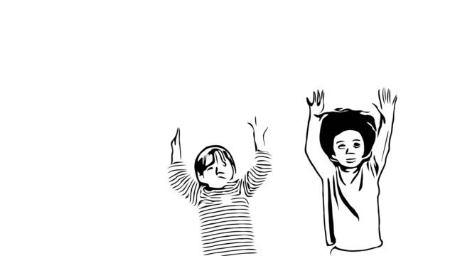 Hand drawing , doodle cartoon style , Two multi-Ethnic little boys playing togerther - vídeo