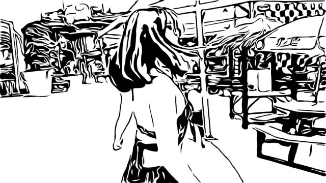 Hand drawing , doodle cartoon style , Young woman in swimwere talking to webcam in follow me concept