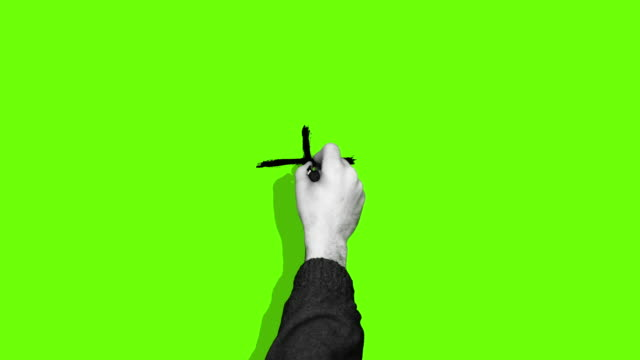 Hand drawing plus cross green screen