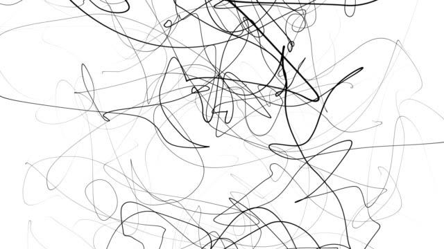 stockvideo's en b-roll-footage met hand tekenen scrawl schets. abstracte krabbel, chaos doodle lijnen geïsoleerd op een witte achtergrond. abstracte illustratie - doodles