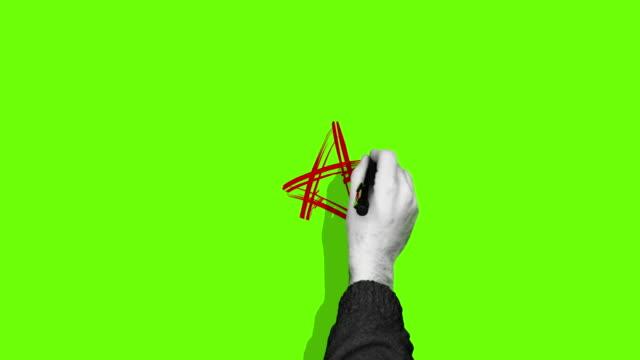 Hand drawing star green screen