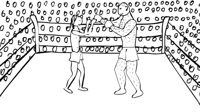 Hand drawn animated boxing ring with two boxers big one and smaller video