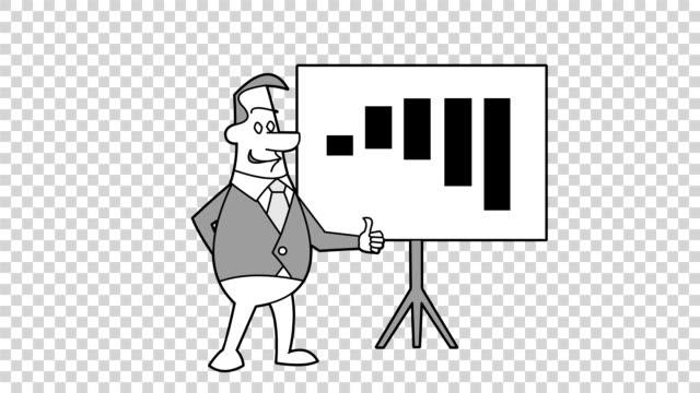 Hand Drawn Animated Businessman Turns Chart.  Hand Drawn Animation. Alpha matte. video