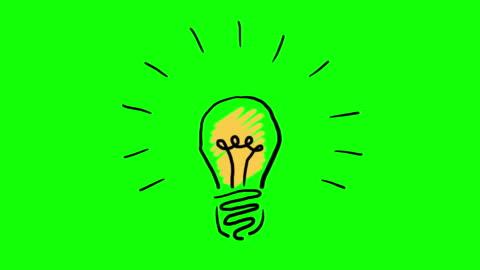 vídeos y material grabado en eventos de stock de concepto de invención o idea de dibujados animados bombilla de luz de mano. material incluido pantalla verde y mate de luminancia - ideas
