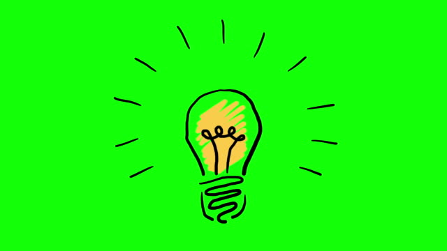 hand drawn animated light bulb invention or idea concept. footage included green screen and luma matte - idea stock videos & royalty-free footage