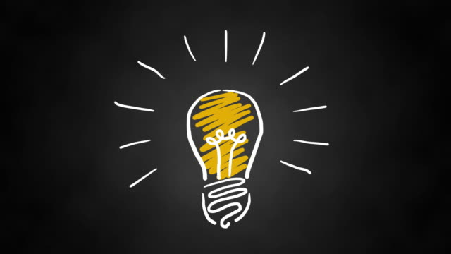 Video Hand drawn animated light bulb invention or idea concept