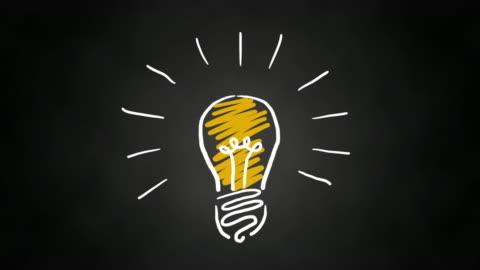 invenzione o idea di lampadina animata disegnata a mano - idea video stock e b–roll