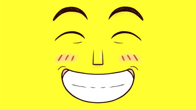 hand gezeichnete animation eines glücklichen lächeln gesicht isoliert auf gelbem hintergrund - smiley stock-videos und b-roll-filmmaterial