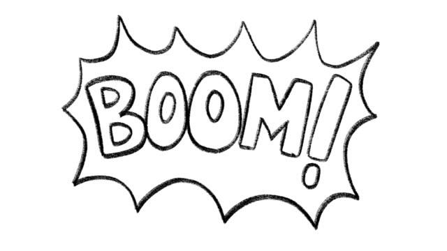 die hand gezeichnete animation boom phrase - comic font stock-videos und b-roll-filmmaterial