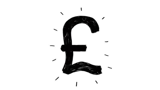 handgezeichnete animation von england pfund-zeichen. währung-zeichen-animation - pfand stock-videos und b-roll-filmmaterial