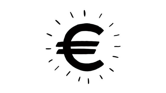 Hand drawn animation of euro currency sign. Currency sign animation