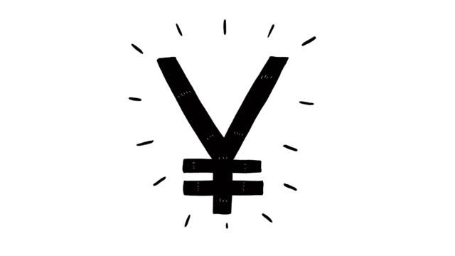 stockvideo's en b-roll-footage met hand getekend animatie van japanse yen-teken. valuta teken animatie - yenteken