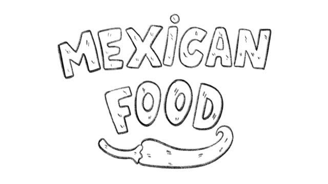 Mano animación dibujada de frase de comida mexicana - vídeo
