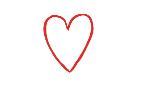 hand drawn animation of red romantic heart - cuore video stock e b–roll