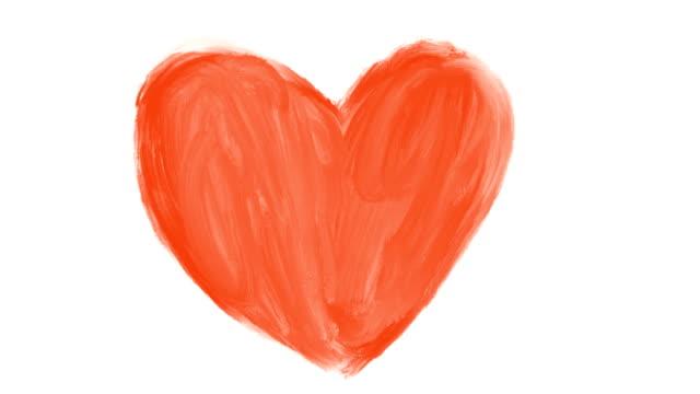 handgezeichnete animation der roten romantische herz - valentinstags karte stock-videos und b-roll-filmmaterial