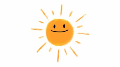 animazione disegnata a mano del sole - alba crepuscolo video stock e b–roll