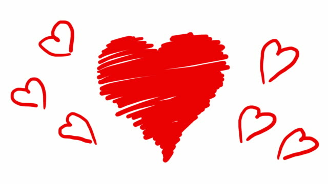 Hand drawn animation red hearts in scribble style. Doodle cartoon loop movie for Valentines Day. video