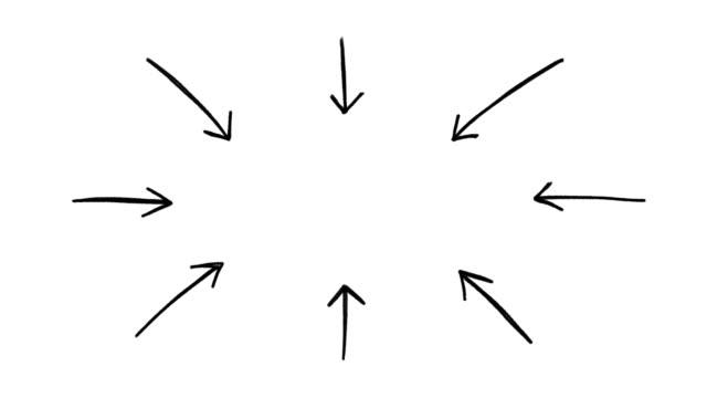 stockvideo's en b-roll-footage met de animatie van de hand getrokken pijlen, kader van krabbelde pijlen die aan het midden van een witte achtergrond richten - pijlbord